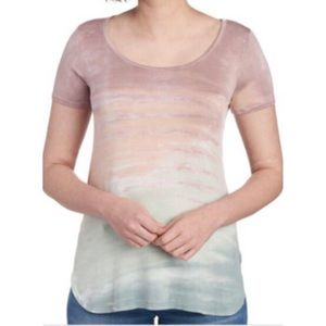 CABLE & GAUGE Tie Dye Scoop Neck Tee